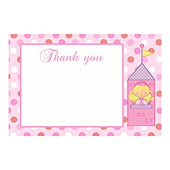 30 Blank Card Thank You Notes Princess Birthday Baby Shower Pink + Envelopes 0