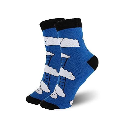 ZHANGJIANJUN  Frauen Cartoon Socken Socken Scaling Ladder Muster Jacquard Baumwolle Sommer Damen Kawaii süß Socken Rot Blau Gelb 4 Paare, 2, Eine Größe