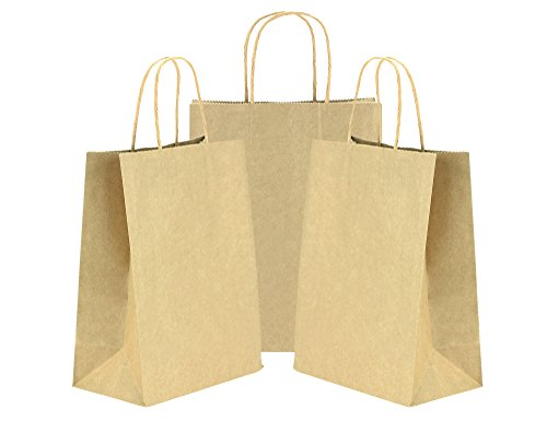 tück Medium Braun Papiertüten Kraftpapier mit verstärkten verdrehten Griffen für Hochzeitsgeschenke, Baby-Duschen, Kunst & Handwerk Projekte, Party, Geschenke, Färbung, Geburtstage, Einkaufen, Einzelhandel Taschen, Papier partytüten (21 x 11 x 27cm / 8.3'' x 4.3'' x 10.6'') (Geschenk-taschen Für Baby-dusche)