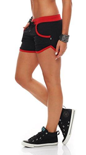 Gennadi Hoppe Damen Hot Pant Hotpants Fitness Shorts,schwarz/rot,Small