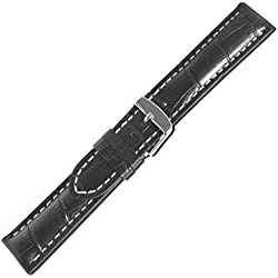 Herzog Swiss Chrono II watch strap watchband calf Leather Band black 20651S, Band Width: 22mm