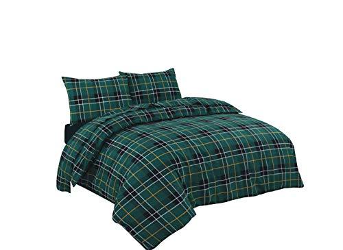 Smokys Bettwäsche-Set aus gebürstetem Biber, 100% Baumwollflanell, Bettbezug mit Kissenbezügen, Einzelbett, Doppelbett, King-Size, Super-King-Size-Bett, Tartan Green, Einzelbett -