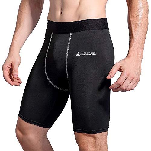 AMZSPORT Herren Fitness Hose Pro Cool Compression Tights Shorts Funktionswäsche Pants Black XXL -