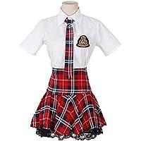 Nuoqi® Ragazza della Scuola Uniforme da uomo a maniche corte con pieghe gonna costume cosplay