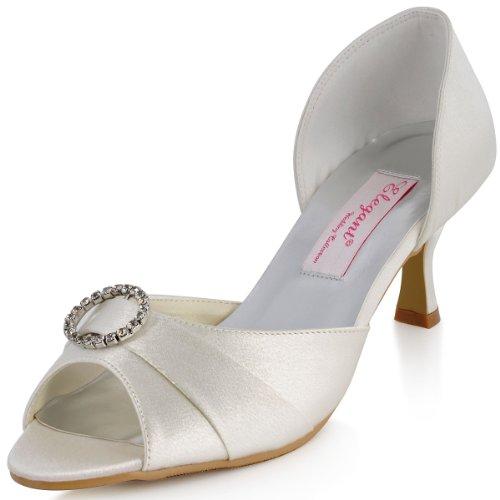 Elegantpark MM-009 Escarpins Femme Bout Ouvert Boucle Talon Aiguille Enfiler Satin Chaussures De Mariage Ivoire