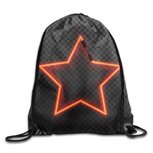 ewtretr Turnbeutel, Glowing Neon Shining Abstract Star Drawstring Backpack Travel Bag Gym Outdoor Sports Portable Drawstring Beam Port Backpack for Girl Boys Woman Female