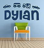 Nombre personalizado, automóviles, transporte, vehículos, vinilos decorativos, arte mural, mural, calcomanía. Hogar, decoración de la pared. Dormitorio infantil, Sala de juegos.