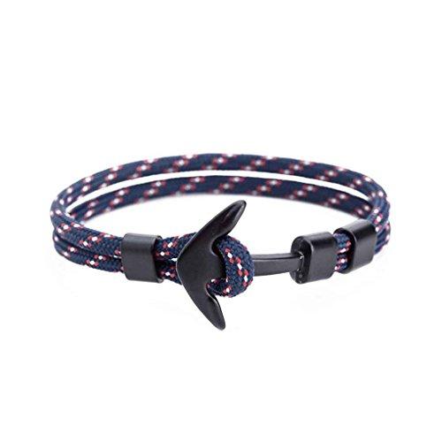 Bobury Regalos de la joyería de anclaje poliéster hombres cable muchacha de las mujeres pulsera de moda de la aleación pulsera de cadena Cuff
