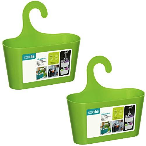 stardis 2er-Set Duschkorb zum Hängen - ohne Bohren - Duschablage aus Kunststoff Bad-Regal Duschregal Utensilo Aufbewahrungskorb, Farbe:Lime-Grün