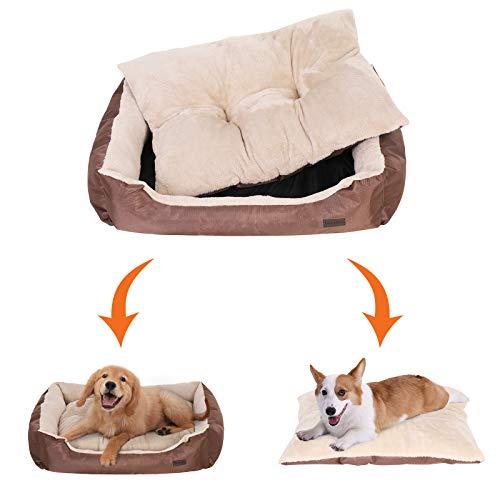 SONGMICS Hundebett mit beideseitig nutzbarem Hundekissen, kuschelig und groß (L: 90 x 70 x 17 cm) - 3