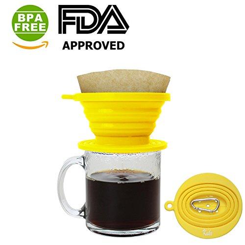 Kuke Faltbarer Silikon Kaffeefilter & Dripper für unterwegs Reisen Camping Wandern sowie im Büro...