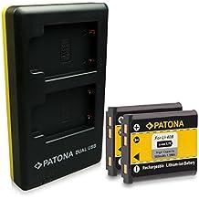 PATONA 2in1 Dual Cargador + 2x Batería Olympus Li-40B Li-42B Nikon EN-EL10 Fuji NP-45 Pentax D-Li63 Kodak Klic-7006 Casio NP-80 para Olympus mju 700 750 760 820 830 840 5000 con micro USB