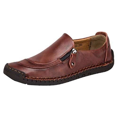 FNKDOR Schuhe Herren Geschäft Freizeit Lederschuhe Bootsschuhe Seitlicher Reißverschluss Hohl Atmungsaktiv Runder Kopf Slip-On Faule Schuhe Rot 43 EU -