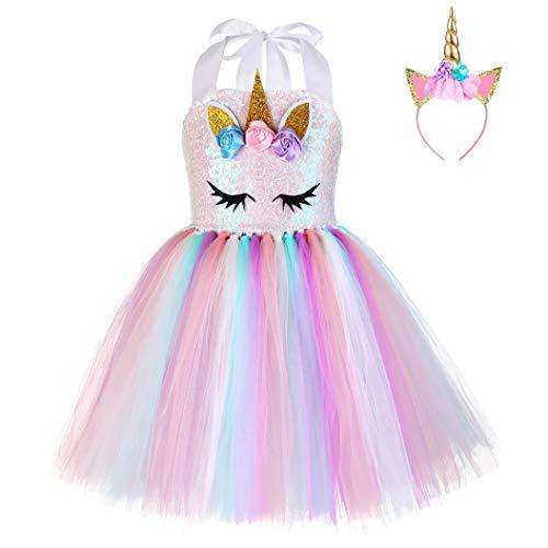 624853ed9 FONLAM Vestido de Bautizo Fiesta Niña Disfraz de Unicornio Princesa ...