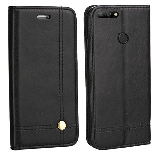 MOELECTRONIX Edle Buch Klapp Tasche SCHWARZ Flip Book Case Schutz Hülle Etui für Huawei Y7 2018 Dual SIM LDN-L21