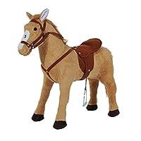 HOMCOM Kids Standing Horse Cowboy Toy Children Plush Soft Pony Ride On Toy Play Fun Brown