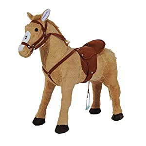 HOMCOM Kids Cuddly Toy Standing Horse Children Plush Soft Pony Ride On Game Play Fun Traditional Gift w/Neigh Sound