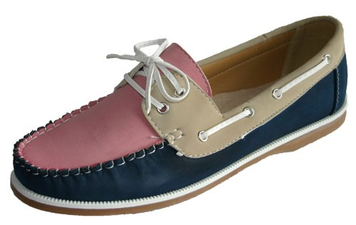 Ladies Coolers Faux Nubuck Leather Loafer Lace Up Boat Deck Shoes Sizes 4 - 8 (6 UK, Pink/Navy/Beige)