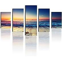 cenblue pinturas mar playa Sunrise paisaje cuadro, lienzo decorativo Art Prints, Junta de esponja de espuma de melamina con material de pintura al óleo decoración de la casa y la oficina, lona, Frameless, 8x16inchx2pcs, 8x20inchx2pcs, 8x24inchx1pc