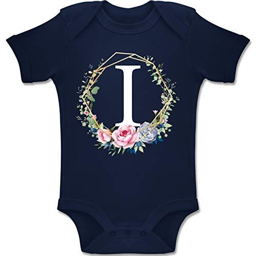 Shirtracer Anfangsbuchstaben Baby - Blumenkranz mit Buchstabe I - 12-18 Monate - Navy Blau - BZ10 - Baby Body Kurzarm Jungen Mädchen