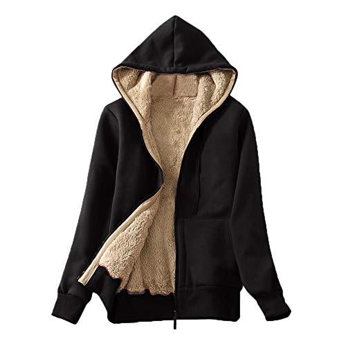 Damen Casual Winter Warm Sherpa, EUZeo Teddyfell Gefüttert Reißverschluss Kapuzenpulli Jacke Mantel Flauschige Langarm Einfach Einfarbig Kapuzenpullover Strickjacke -