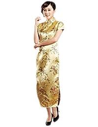 JTC Lady Brocade Plum Blossom Long Qipao Dress Short Sleeve Cheongsam Party  Dress Glod 876eb5587