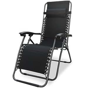 Chaise longue bain de soleil jardin pliante avec Repose-Pied Coussin Transat métal et toile Grise Pliable