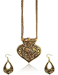 Fashion Sarani Latest Design Hot & Trendy Tribal Golden Oxidised Link Double Chain Pendant Necklace For Women...