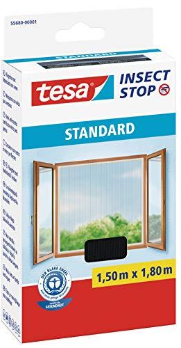 tesa Insect Stop STANDARD Fliegengitter für Fenster - Insektenschutz zuschneidbar - Mückenschutz ohne Bohren - Fliegen Netz anthrazit, 130 cm x 150 cm -