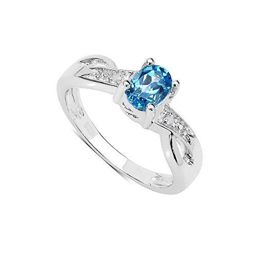 ktion: Schöne Verlobungsring Sterling Silber Oval Blue Topas Swiss Diamond Set mit Schulter-Ringgröße 61 (19.4) ()