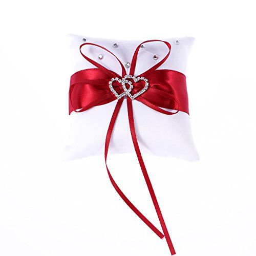 Amosfun Almohada para el Anillo de Boda Almohadilla para el cojín del Portador con Cristales, Cinta de corazón (Rojo 20 x 20 cm)