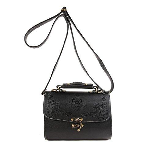 Manadlian Mode FrauRetro Crossbody Tasche Schulter Umhängetasche Telefon Münztüte Prägung Schulter Tasche, Damen Handtasche mit Schulterriemen Gesteppt (Schwarz) (Hobo-handtaschen-taschen Gesteppte)