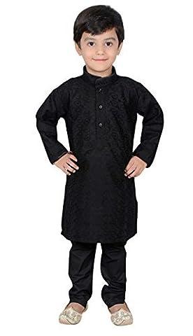 Desi Sarees - Boys Indian Bollywood sherwani kids children kurta churidar shalwar kameez Black 844 (13 (13 yrs), Black)