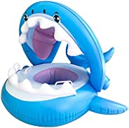 Baby Float Swimming Pool Toddler Floaties with Inflatable Canopy Shark Infant Pool Float for Kids Aged 6-36 Mo