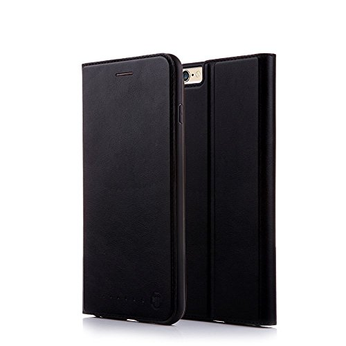 Nouske iPhone 6 Plus/6s Plus Hülle 5.5 Zoll Stand Etui with Karte Halterung Leder Wallet Klapphülle Flip Book Case TPU Cover Bumper Tasche Ultra Slim, Schwarz (Cover Für Iphone 6 Plus)