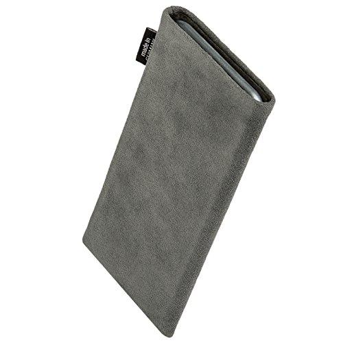 fitBAG Classic Grau Handytasche Tasche aus original Alcantara mit Microfaserinnenfutter für Apple iPhone 6 / 6S / 7 mit Apple Leather Case Classic Grau