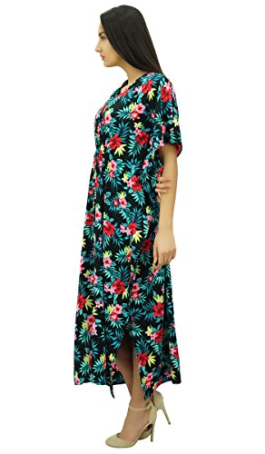 Bimba les femmes à long caftan nuit florale porter caftan robe de plage coverup Noir