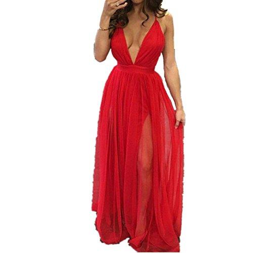 Gedruckt V-ausschnitt Kleid (kleid damen Kolylong® Frauen V-Ausschnitt elegantes ärmelloses langes Partykleid Abendkleid Sommer lose Strandkleid Bodycon Böhmisches kleid (S, Rot))
