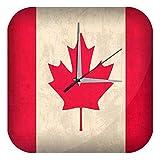 LEotiE SINCE 2004 Wanduhr mit geräuschlosem Uhrwerk Dekouhr Küchenuhr Baduhr Urlaub Reisebüro Deko Kanada Flagge Acryl Uhr Retro