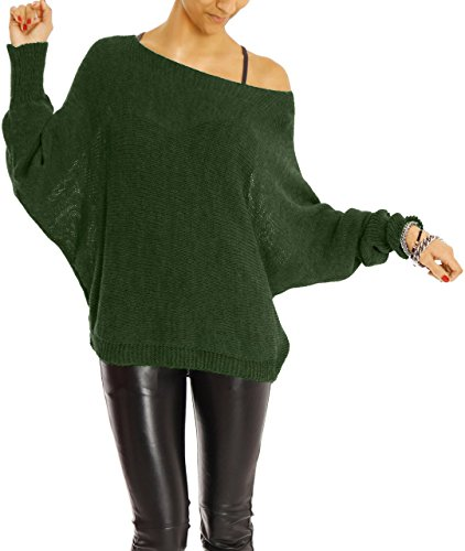 Bestyledberlin pull-over femme, pull-over aux manches chauve-souris t35p Olive