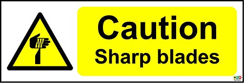 Price comparison product image Caution Sharp Blades Safety Sign - Self adhesive sticker 150mm x 50mm