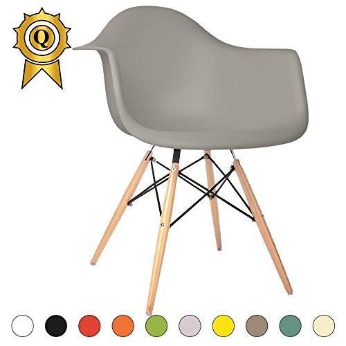 VERKAUF! 1 x Design-Stuhl Eiffel Stil Natural Wood Beine und Sitz Farbe Light grau Mobistyl® DAWL-LG-1