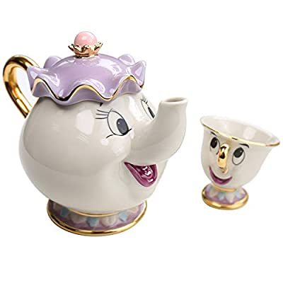 Nouveau Dessin animé Beauty and the Beast Théière Mug Mrs Potts Chip Tea Pot Cup un Lot Joli Cadeau Qvbokay