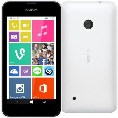 "Nokia - Lumia 530 Smartphone Movistar Entriegelt Windows Phone (Bildschirm 4 "", 5-Megapixel-Kamera, 4 GB, 1,2 GHz, 512 MB RAM), Weiß"