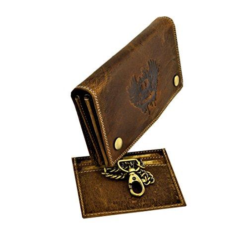 flevado Wild Büffel Leder Geldbörse Scull Totenkopf Biker Wildleder Brieftasche mit Kette (Braun) (Harley Davidson Damen Geldbörsen)