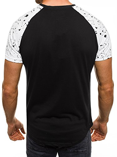 OZONEE Herren T-Shirt mit Motiv Kurzarm Rundhals Figurbetont J.STYLE SS096 Schwarz