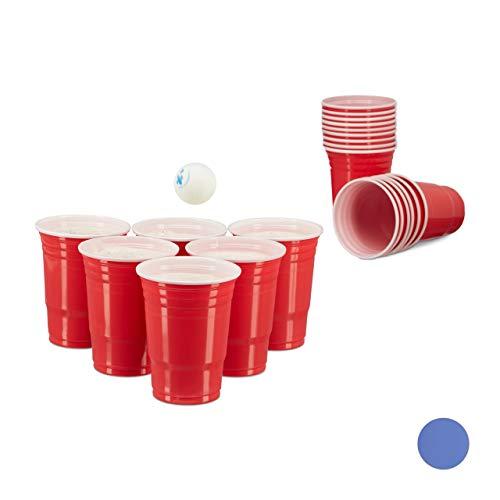 Relaxdays 10020522_47 Gobelet en plastique contenance pour bières fêtes soirées anniversaire 473 ml Rouge Blanc pack de 50