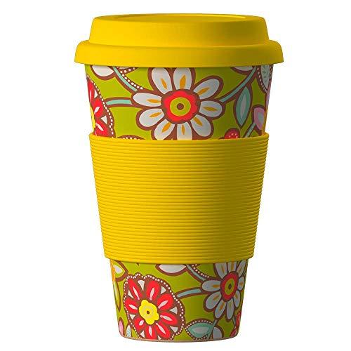 Bambus Becher wiederverwendbare Kaffeetasse mit dichtem Deckel, Trinkloch und Silikonhülle - Bamboo Eco ECoffee Cup - lebensmittelecht und spülmaschinenfest 400 ml Margaritas Gelb