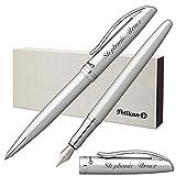 Pelikan Schreibset JAZZ ELEGANCE Silber Metallic mit Laser-Gravur Füllfederhalter und Kugelschreiber