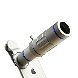 phone Lens 18X Telephoto Lens Super Wide Angle Lens Macro Lens with Mini Flexible Tripod and Universal Clip for Most Smart phone 3 in 1 Camera Kit (Silver)